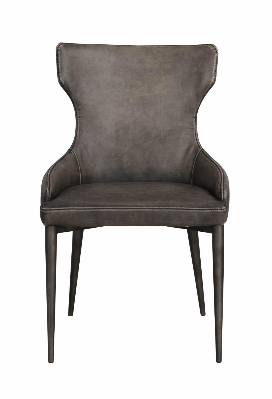 Billede af Ambrose spisebordsstol - grå PU læder m. metalben