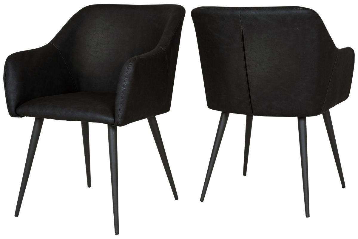 CANETT Miranda spisebordsstol - sort læderlook og stål, m. armlæn