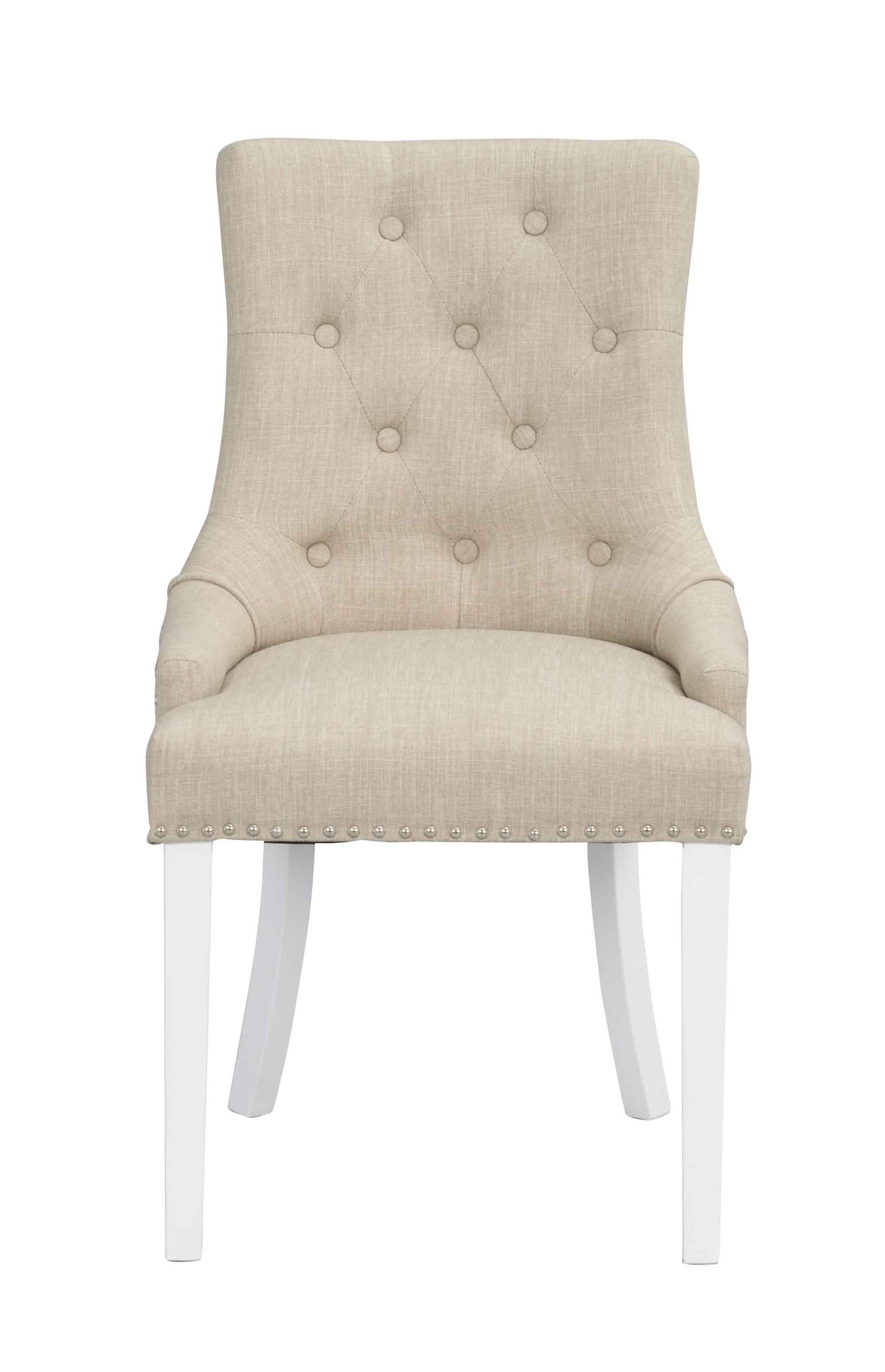 Vicky spisebordsstol - Beige stof, hvide træben