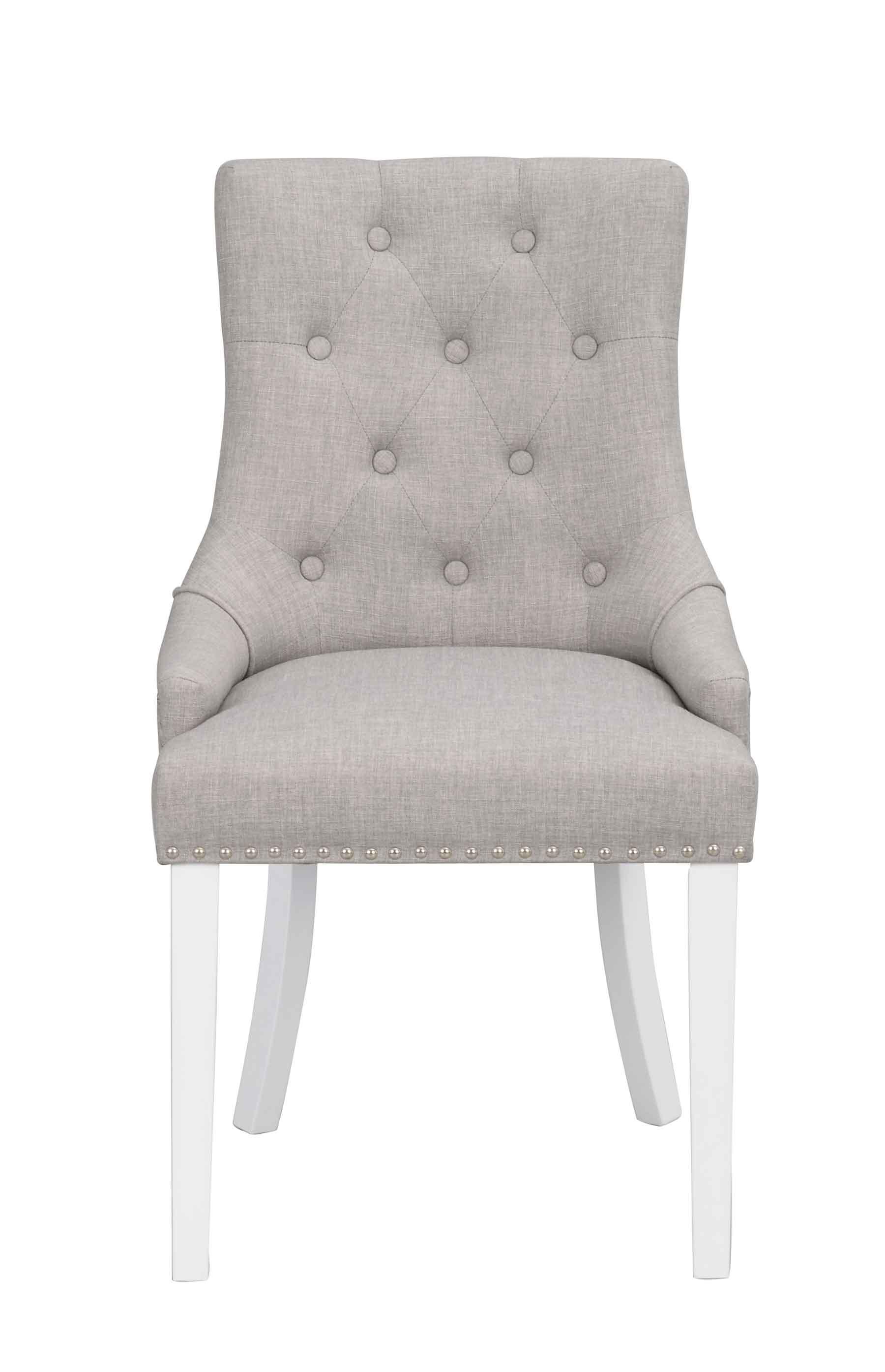 ROWICO Vicky spisebordsstol - lysegråt stof/hvide træben