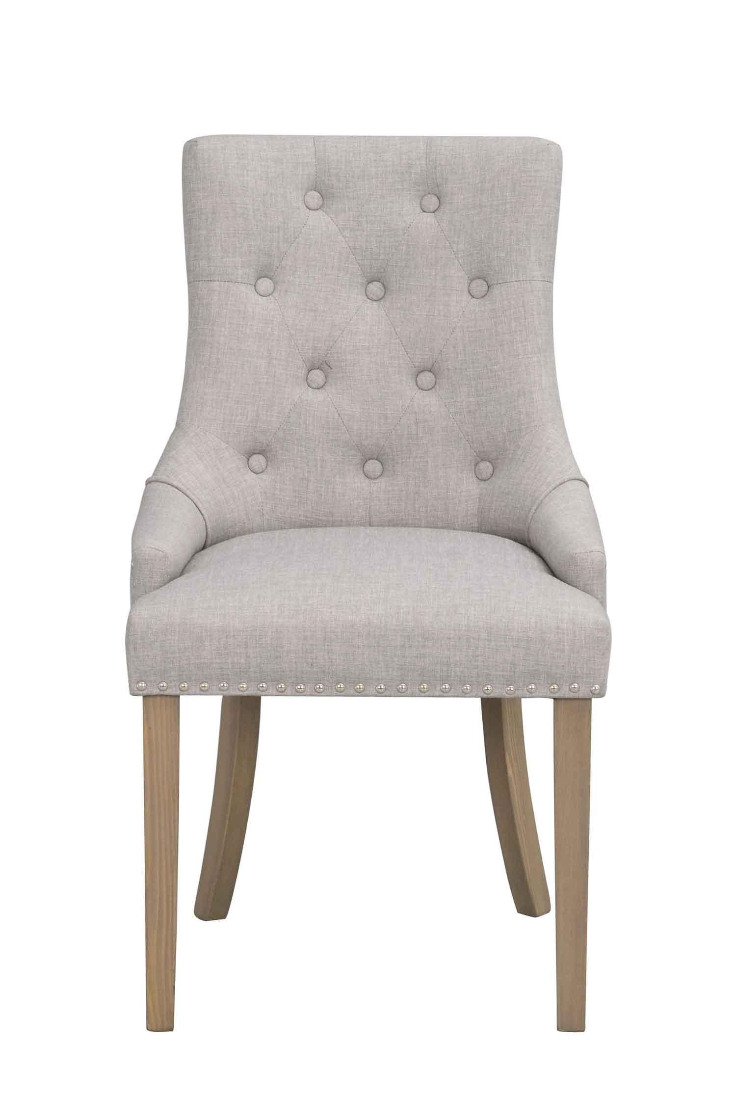 ROWICO Vicky spisebordsstol - lysegråt stof/antikt look træben