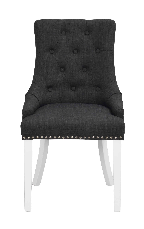 Vicky spisebordsstol - antracitgråt stof/hvide træben
