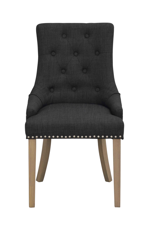 Vicky spisebordsstol - Antracitgrå stof, antiklook træben