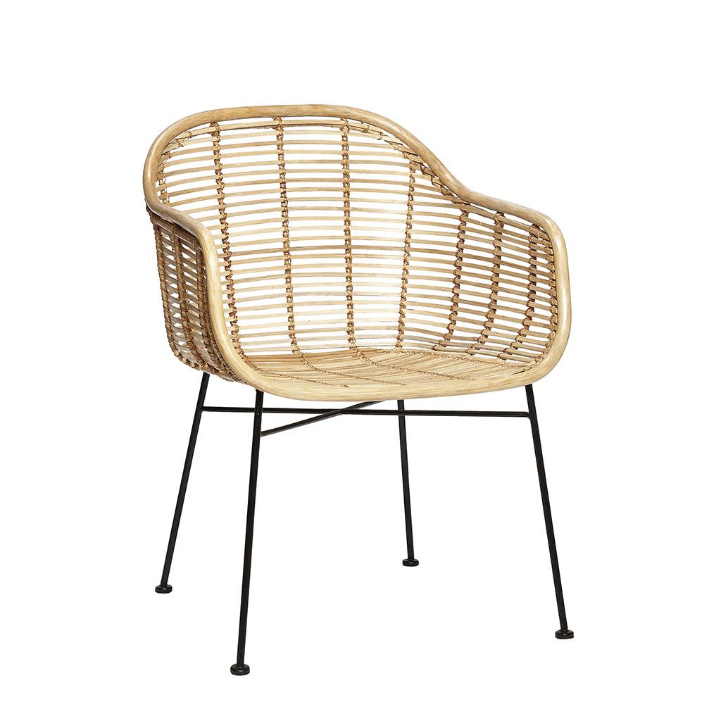 hübsch – H?bsch spisebordsstol - natur rattan og sorte metalben, m. armlæn på boboonline.dk