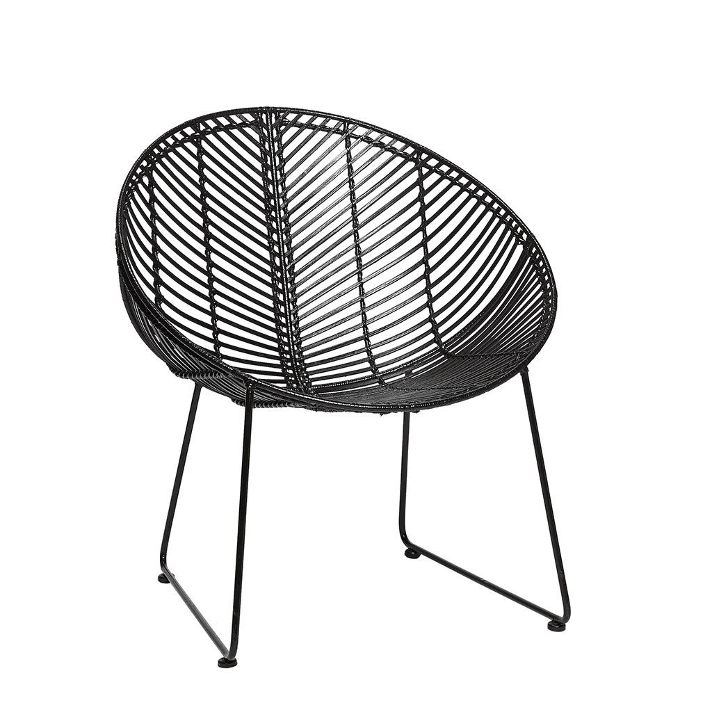 HÜBSCH loungestol - sort rattan og sorte stålben, rund