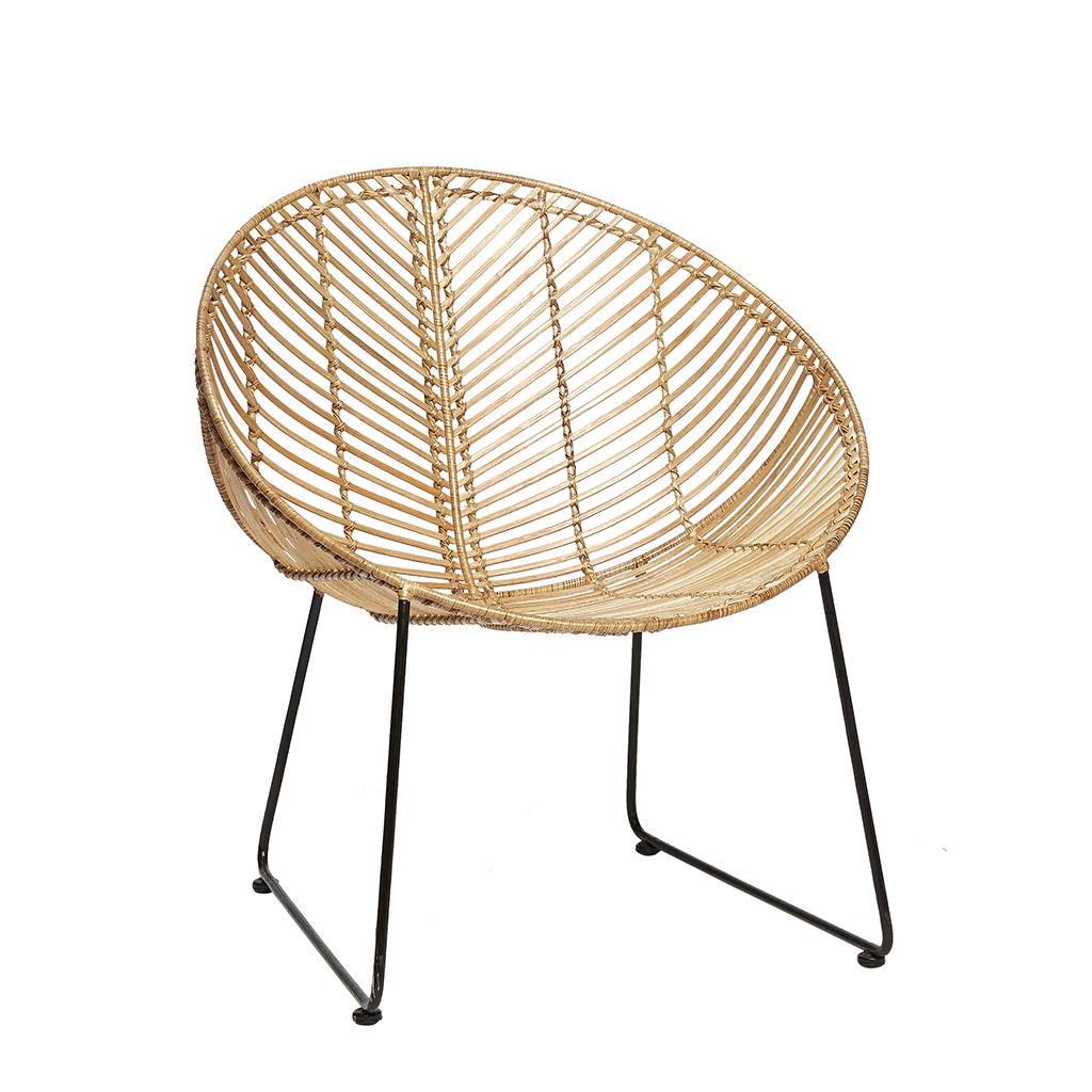HÜBSCH loungestol - natur rattan og sorte stålben, rund