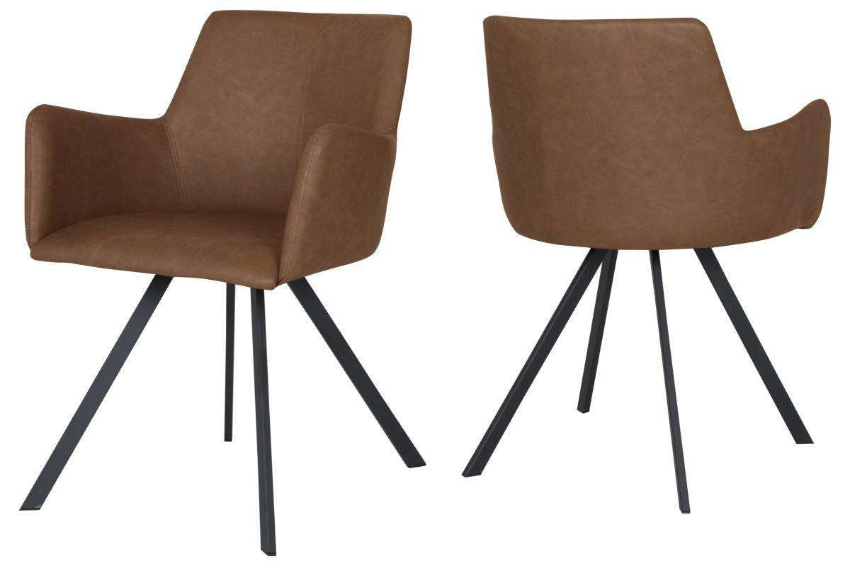 CANETT Locus spisebordsstol - cognacfarvet kunstlæder og sort stål, m. armlæn