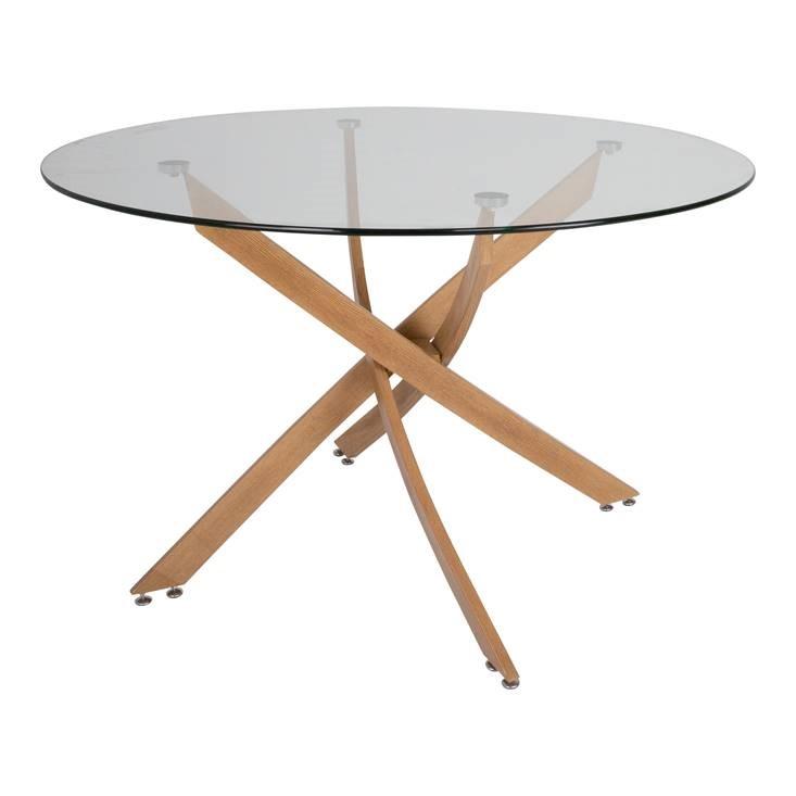 CANETT Luri spisebord - klar/natur glas/stål m. folie, rund (Ø120)