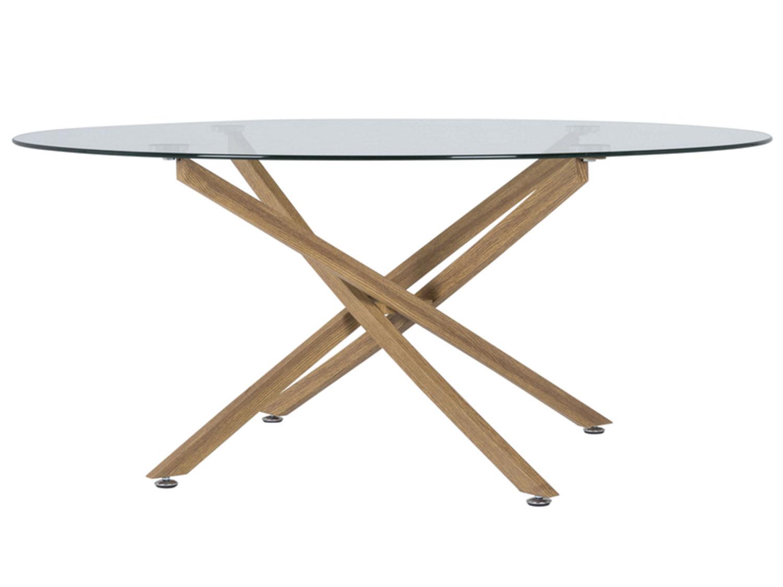 CANETT Luri sofabord - klart glas og eg, rund