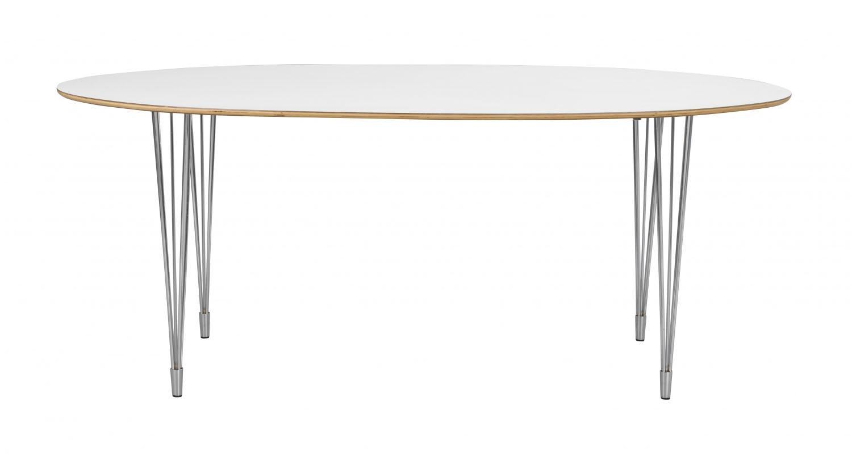 Image of   Fusion spisebord - hvid laminat/krom, oval (190x100)