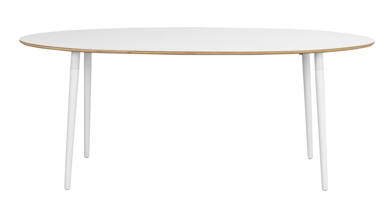 Fusion spisebord - hvid laminat/bøg, oval (190x100)