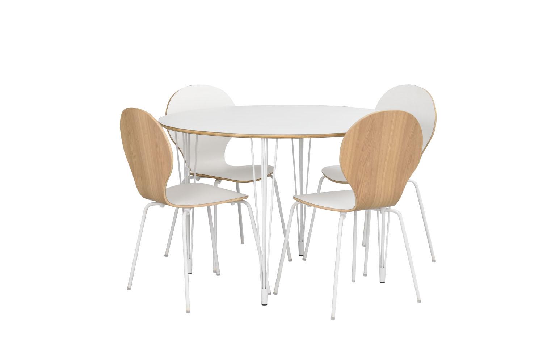 ROWICO Fusion spisebord hvid laminathvidt metal, rund (Ø115)