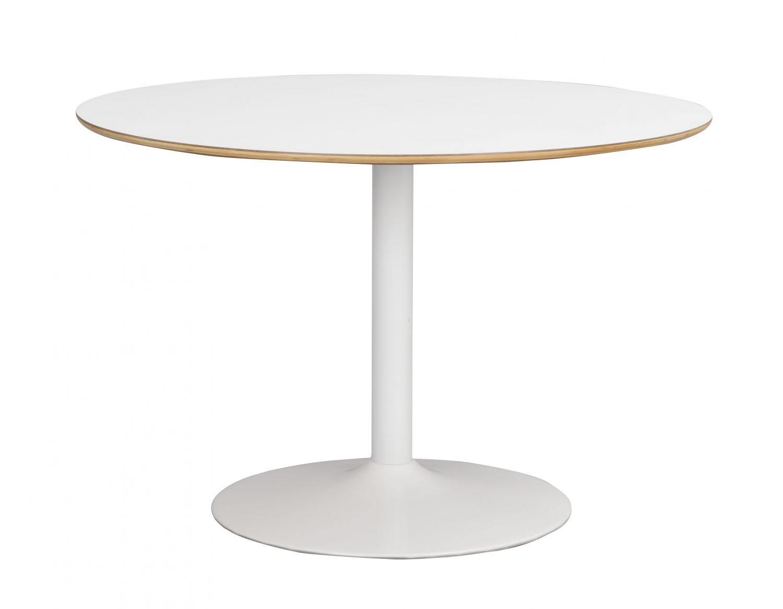 Fusion spisebord - hvid laminat, rund m. trompetfod (Ø115)