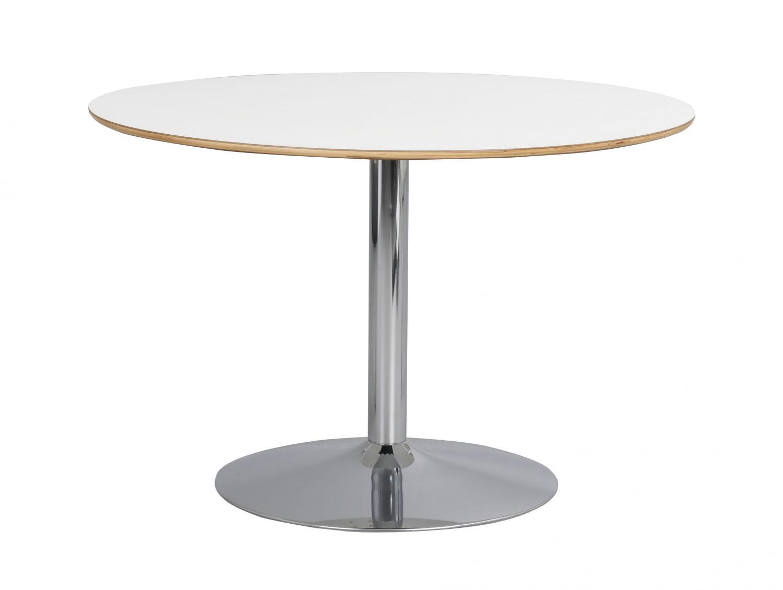 Fusion spisebord - hvid laminat/krom, rund m. trompetfod (Ø115)