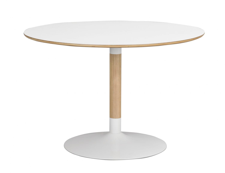 ROWICO Fusion spisebord - hvid laminat og hvid/natur, rundt m. trompetfod (Ø115)