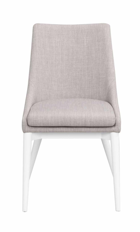 Image of   Bea spisebordsstol - lysegråt stof/hvidt træ