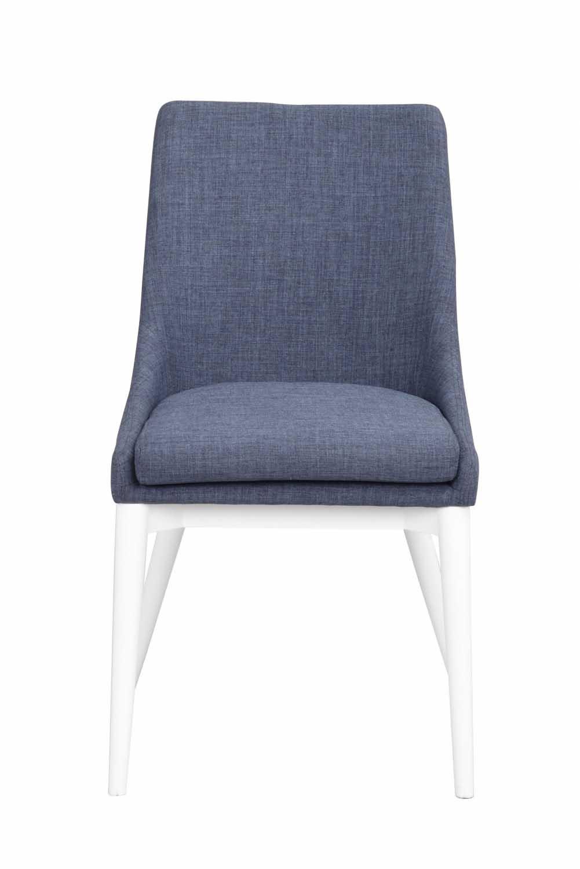 Image of   Bea spisebordsstol - blåt stof/hvidt træ