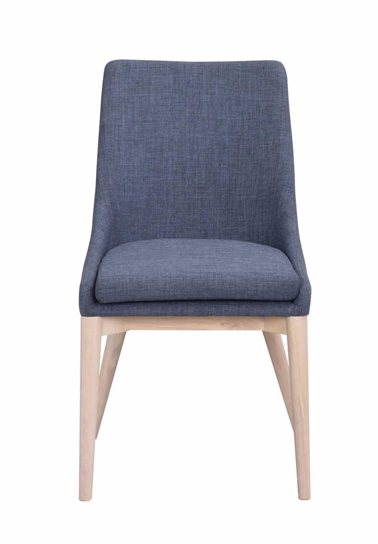Image of   Bea spisebordsstol - blåt stof/hvidpigmenteret eg