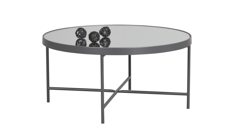 London sofabord - spejlglas/antracitgrå metal, rund (Ø83)