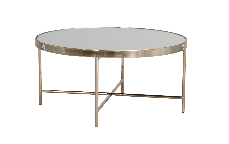 London sofabord - spejlglas/bronzefarvet metal, rund (Ø83)