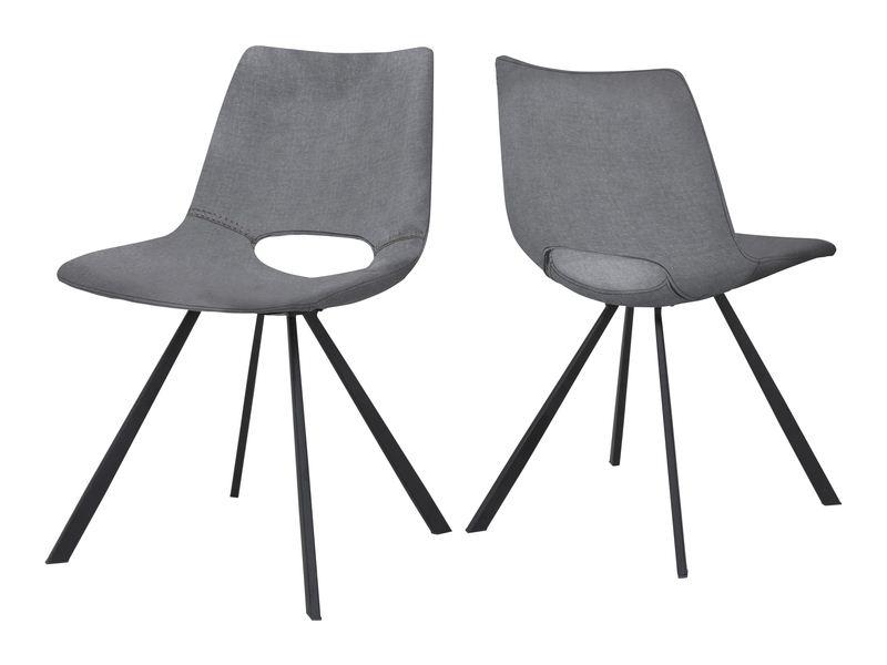 CANETT Coronas spisebordsstol - grå stof og sort stål