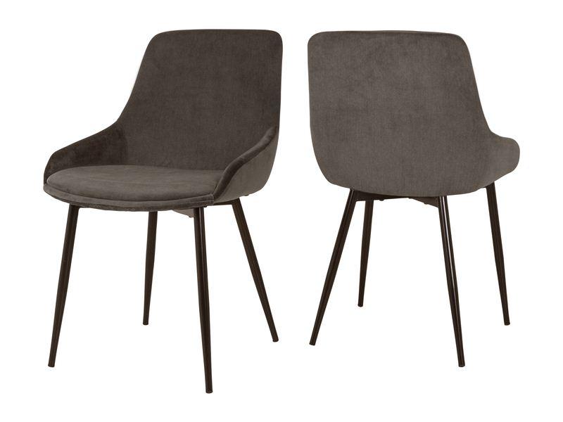 CANETT Merick spisebordsstol - grå/brun stof og sort metal