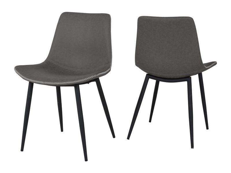canett Canett rodi spisebordsstol - mørkegrå kunstlæder m. lyse syninger og sorte metalben fra boboonline.dk