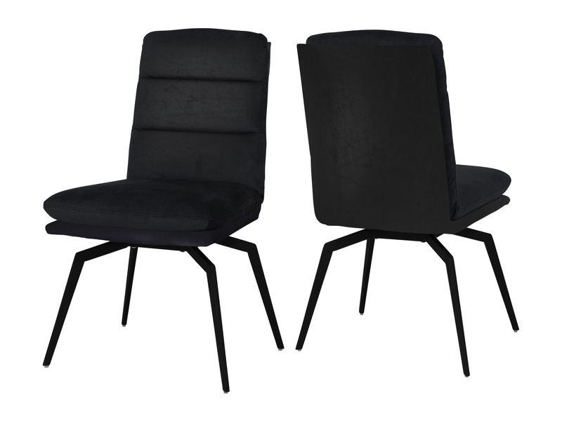 CANETT Uri spisebordsstol - sort læderlook og sort stål, m. drejefunktion