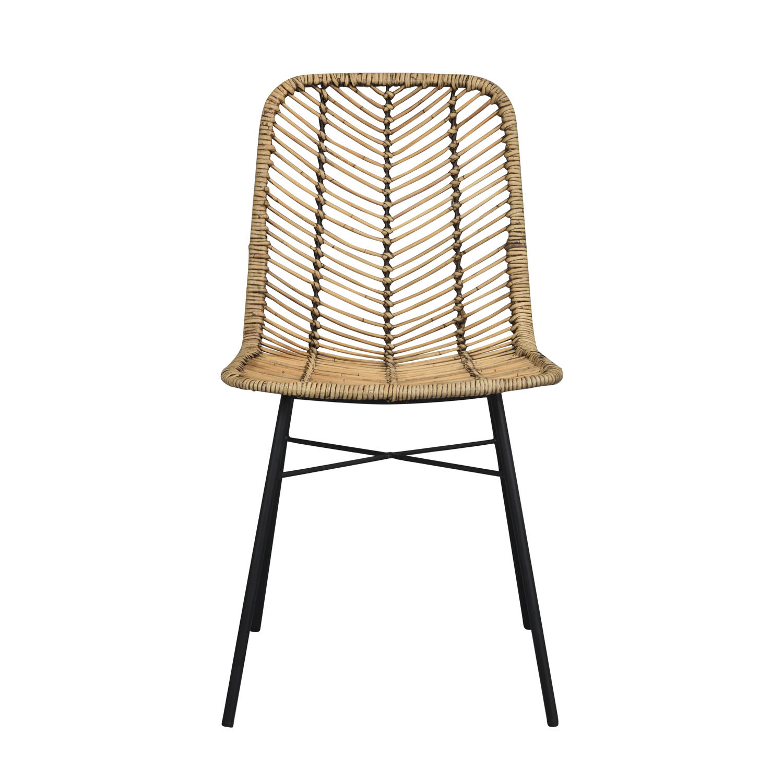ROWICO Manado spisebordsstol - natur rattan og sort metal