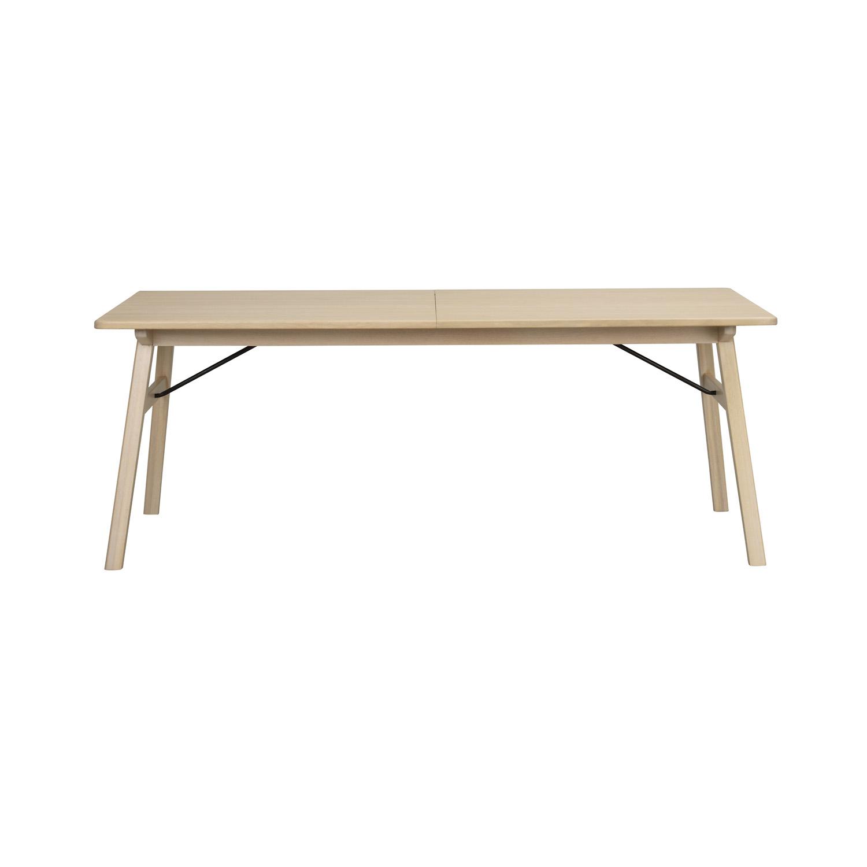 ROWICO rektangulær Graham spisebord m. udtræk - hvidvasket eg og metal (200x100)