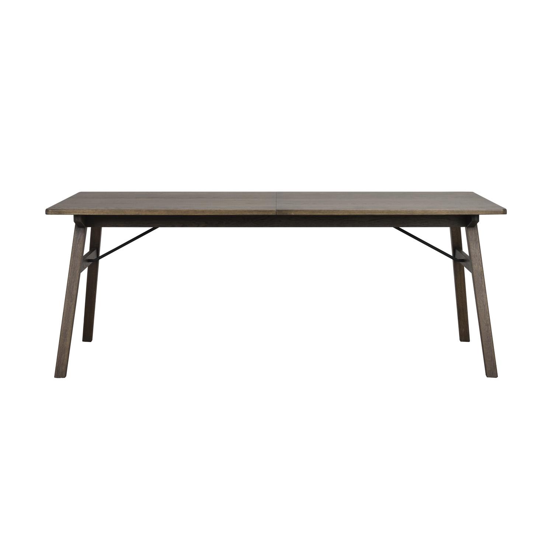 ROWICO rektangulær Graham spisebord m. udtræk - mørkebrun egetræsfiner og eg, metal (200x100)