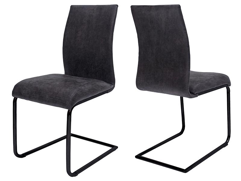 Canett clipper spisebordsstol - mørkegrå stof og sort jern fra canett fra boboonline.dk