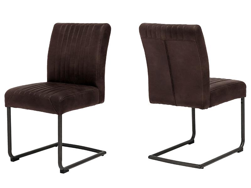 Canett pitou spisebordsstol - mørkebrun stof og sort metal fra canett på boboonline.dk