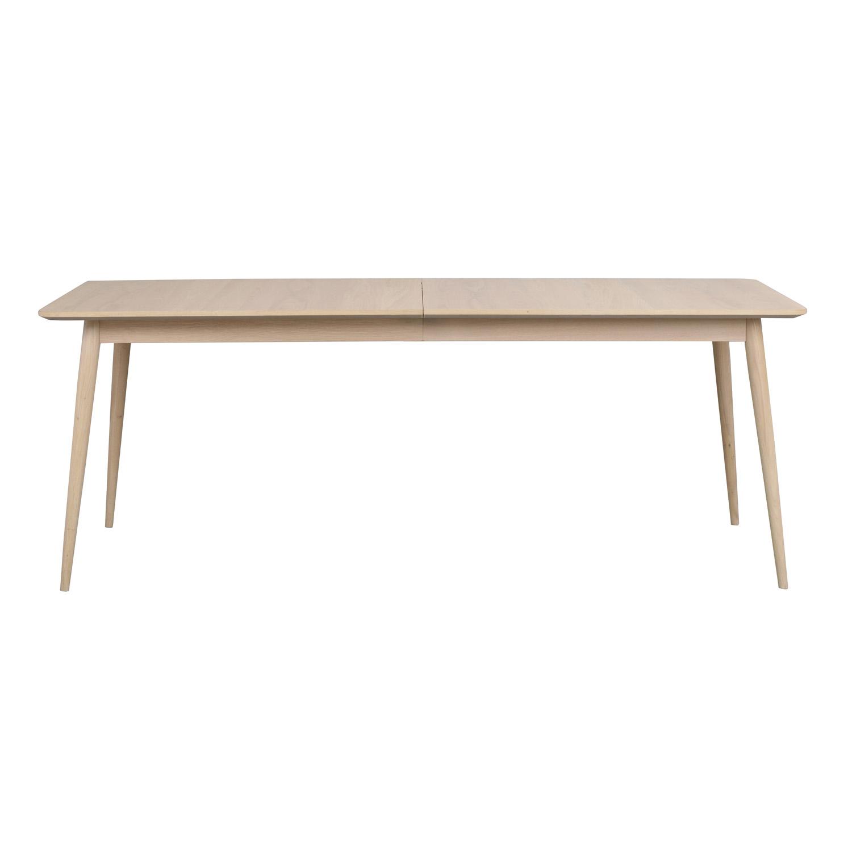 ROWICO rektangulær Dawsone spisebord m. 1 tillægsplade - hvidvasket eg (200(245)x90)