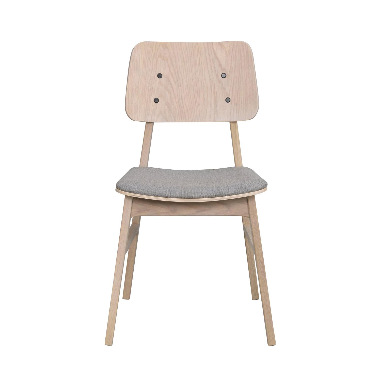 ROWICO Nagano spisebordsstol - lysegrå polyester og hvidvasket eg