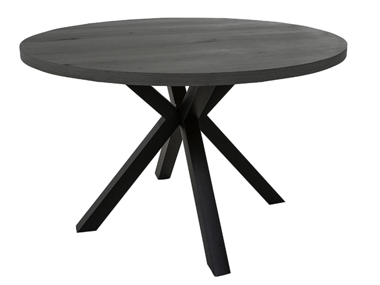 CANETT Savon spisebord - gråbejdset vildeg finér og sort metal, rundt (Ø 120)