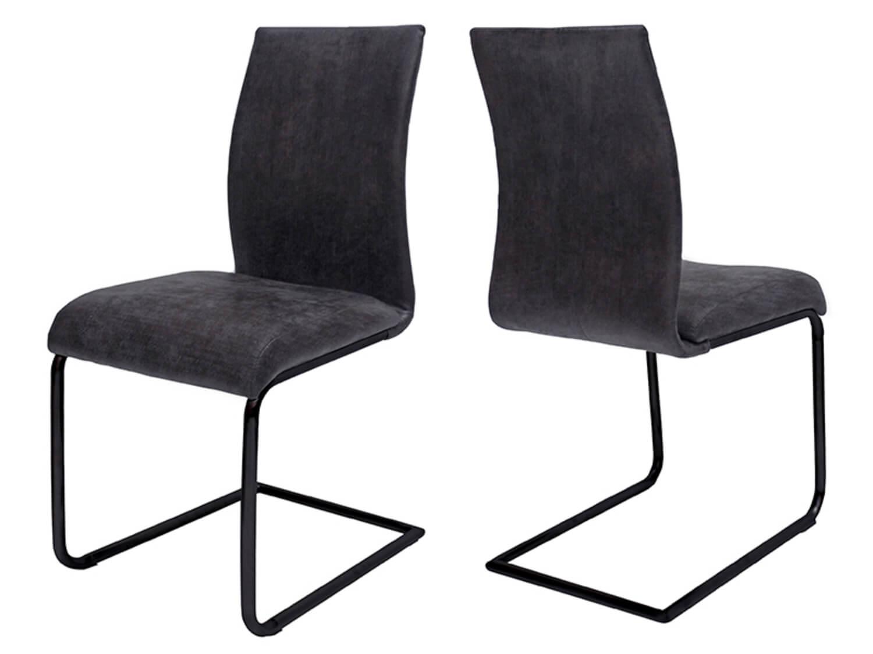 canett – Canett clipper spisebordsstol - antracitgrå stof m. sorte jernben på boboonline.dk