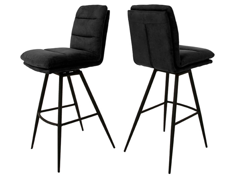 canett Canett uri barstol - mørkegrå stof m. sorte jernben, m. fodstøtte og drejefunktion fra boboonline.dk