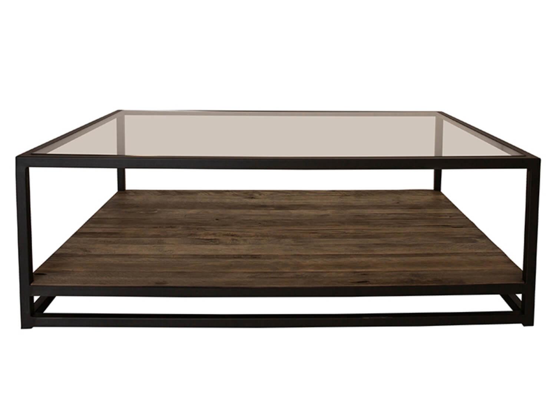 canett Canett prato sofabord - glasplade og egetræ m. sorte jernben, m. 1 hylde (120x80) fra boboonline.dk