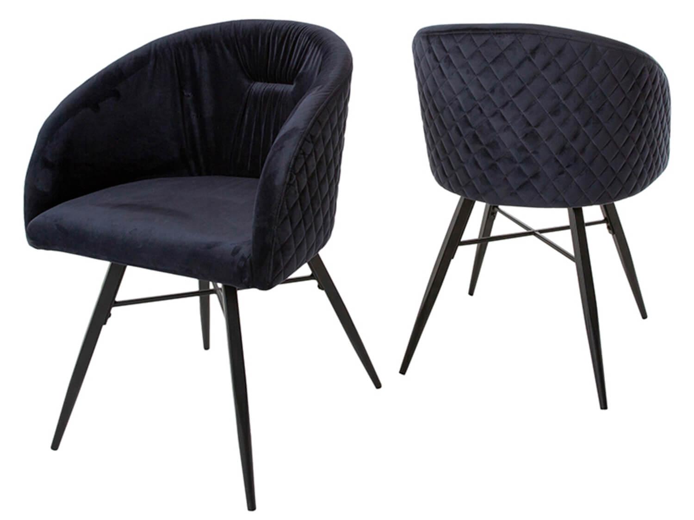canett – Canett mingo spisebordsstol - mørkeblå velour m. jernben, m. armlæn, mønstret fra boboonline.dk