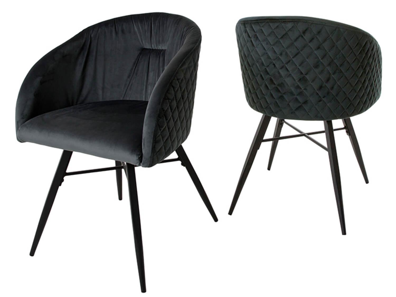 canett Canett mingo spisebordsstol - antracitgrå velour m. sorte jernben, m. armlæn, mønstret på boboonline.dk