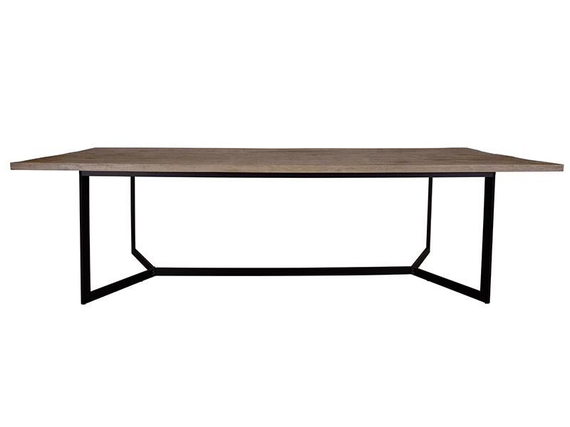 canett Canett rochefort spisebord - gråbrun bejdset plankeeg, sorte jernben (280x110) på boboonline.dk