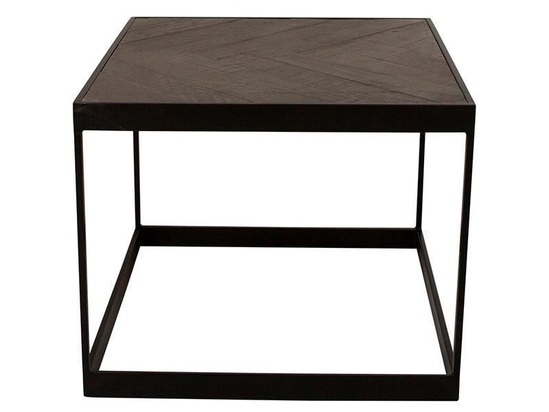 Canett damo sofabord - massiv genbrugstræ m. sorte jernben, kvadratisk (55x55) fra canett på boboonline.dk