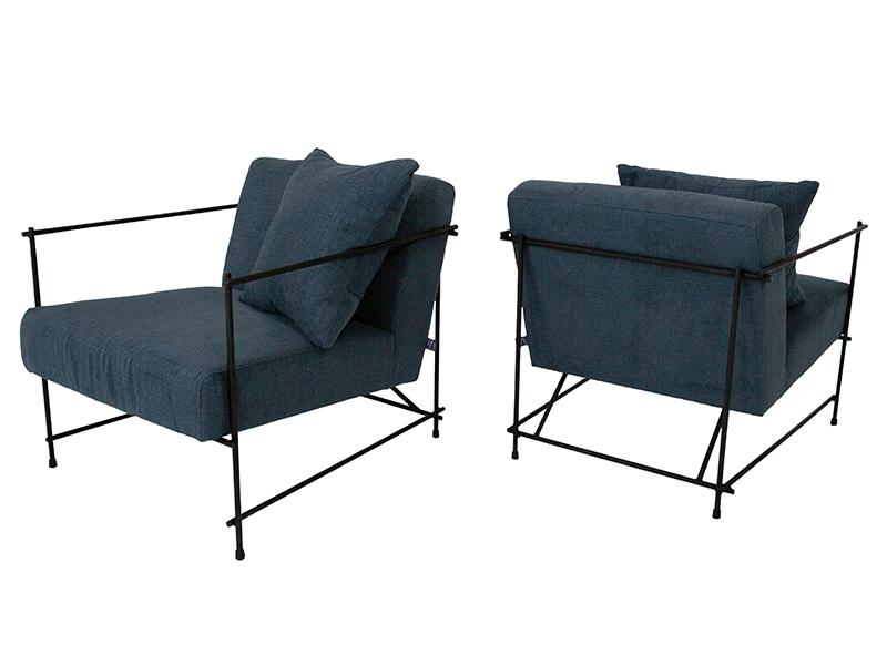 canett Canett kyo lænestol - petroleumsblå stof m. sort stel, m. armlæn, m. pude på boboonline.dk