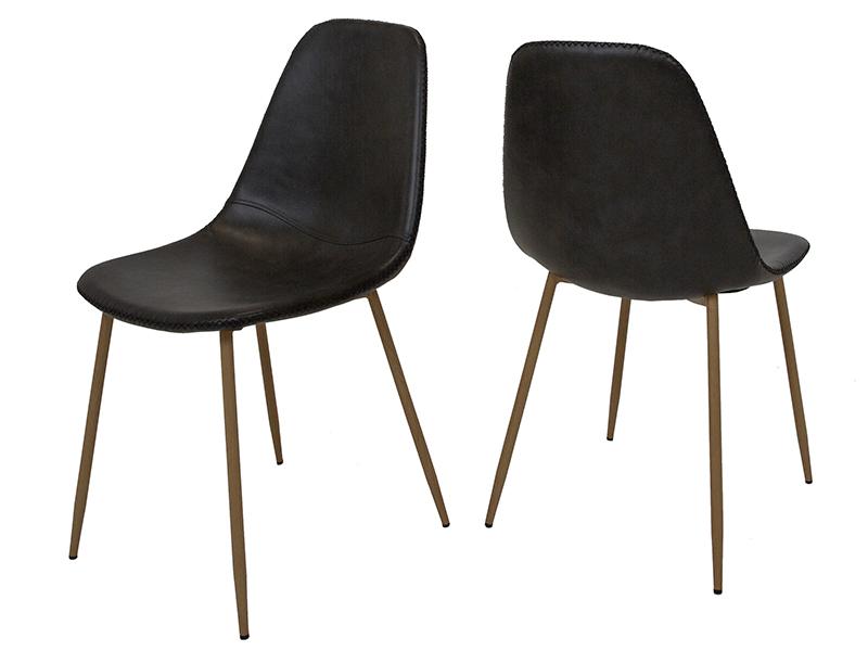 canett – Canett basil spisebordsstol - sort kunstlæder og jern fra boboonline.dk