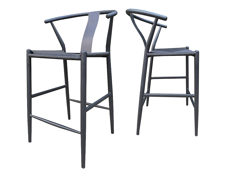 CANETT Alto barstol - sort flettet reb og sort jern, m. armlæn og fodstøtte thumbnail