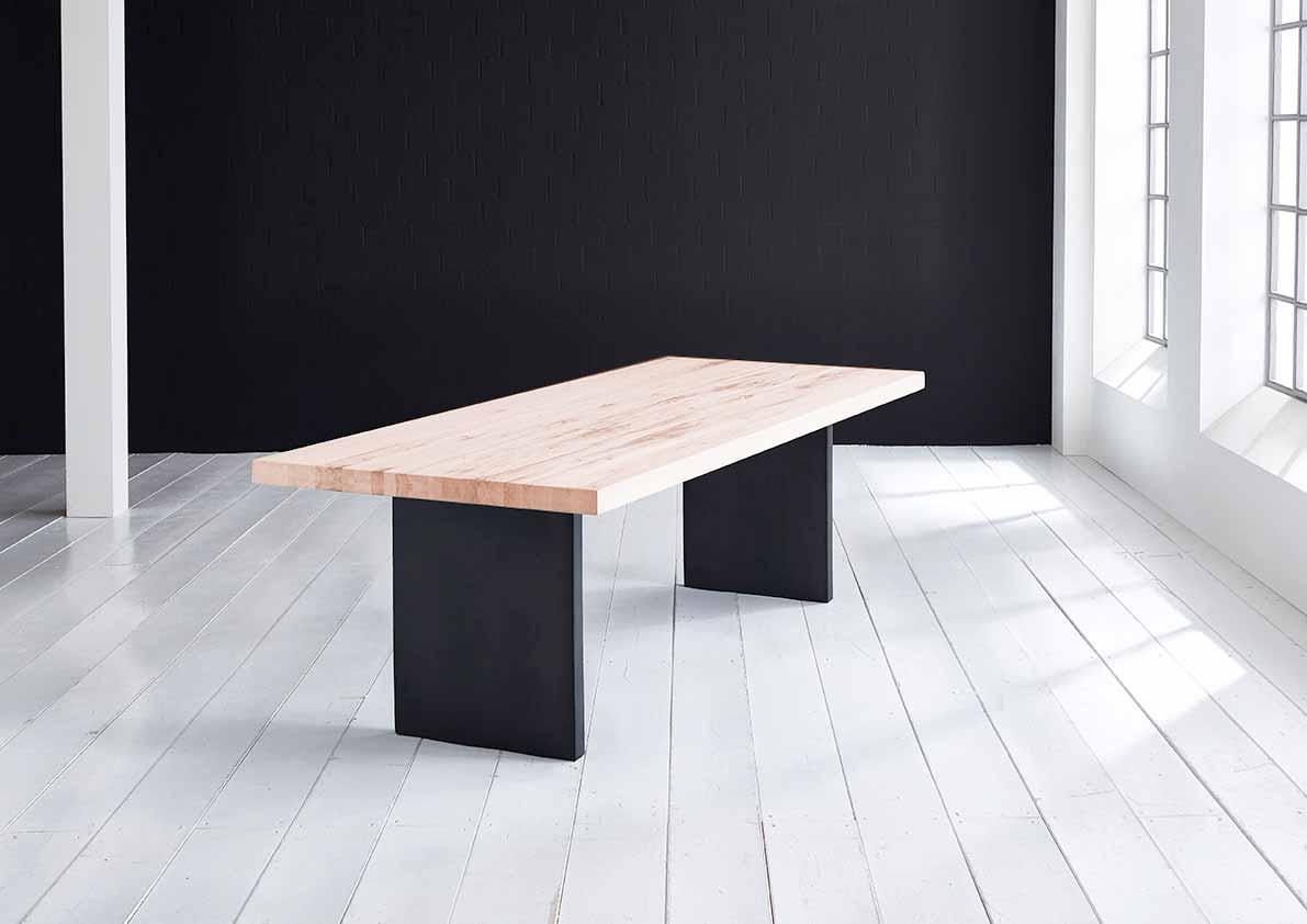 Concept 4 You Plankebord - eg m. lige kant og T-ben, m. udtræk (180-260x100-110) 6 cm 300 x 110 cm. 03 = white wash
