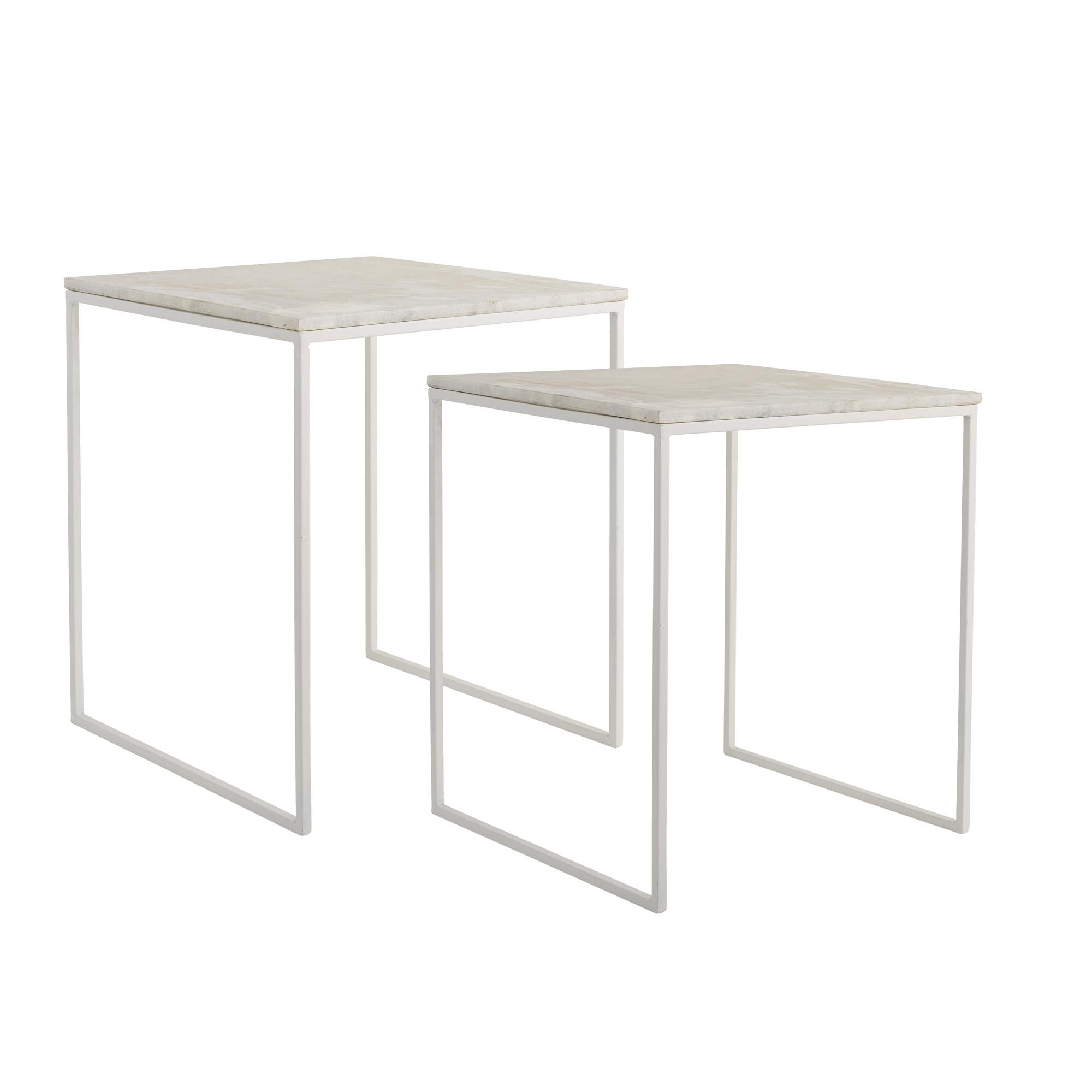 BLOOMINGVILLE Gavl sofabord - hvid jern/marmor, kvadratisk (sæt á 2)