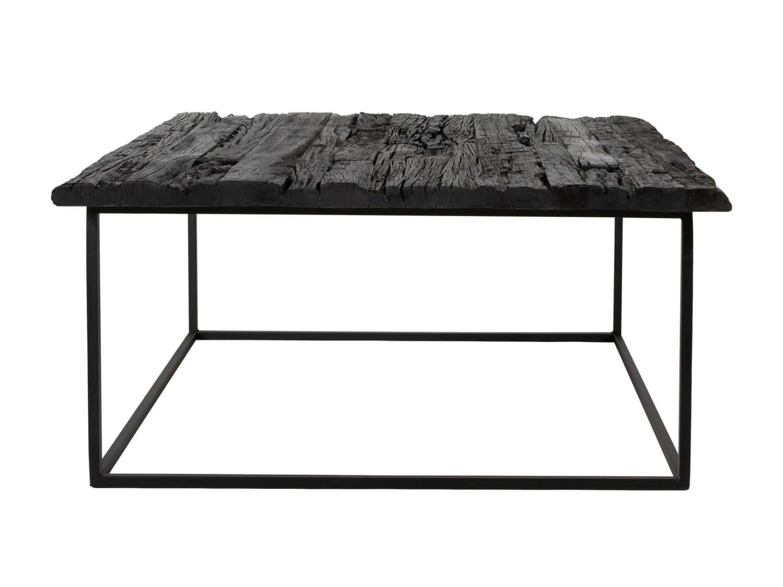 canett – Canett hayes sofabord - sort genbrugstræ og sort jern, kvadratrisk (88x88) på boboonline.dk