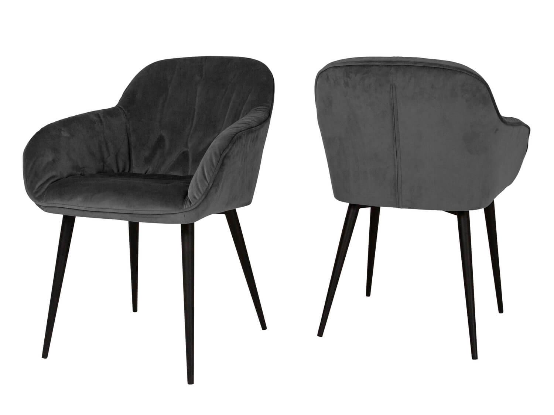 Billede af CANETT Amino spisebordsstol - antracitgrå velour og sort jern, m. armlæn